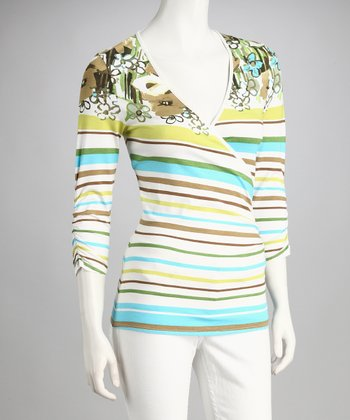Blue & Green Stripe Surplice Top