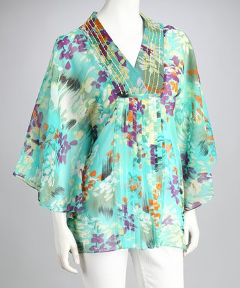 Jade Floral Sheer Cape-Sleeve Top