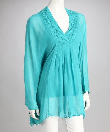 Jade Sheer Cape-Sleeve Top