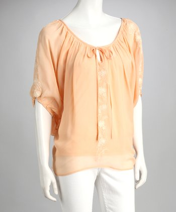 Peach Embroidered Peasant Top