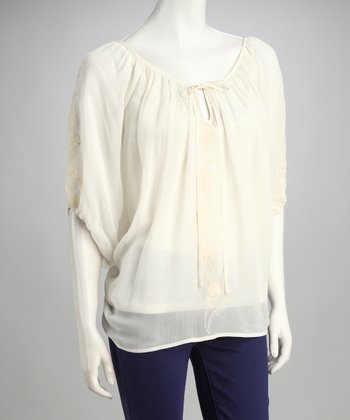 Sugar Embroidered Peasant Top