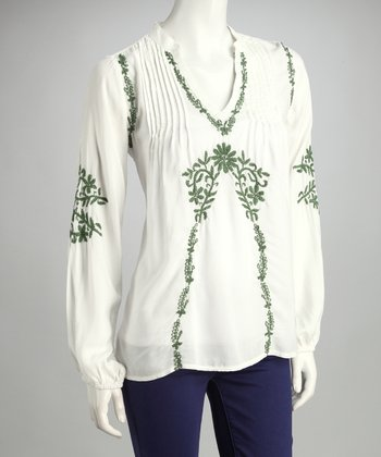 White & Sage Embroidered Top