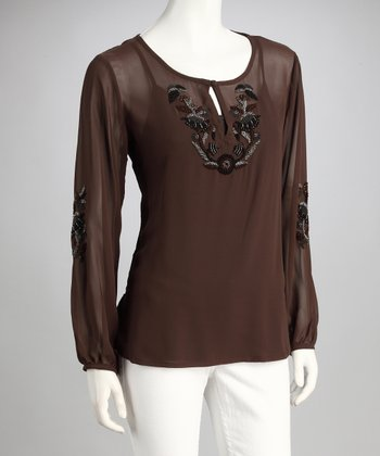 Mocha Embroidered Layered Top