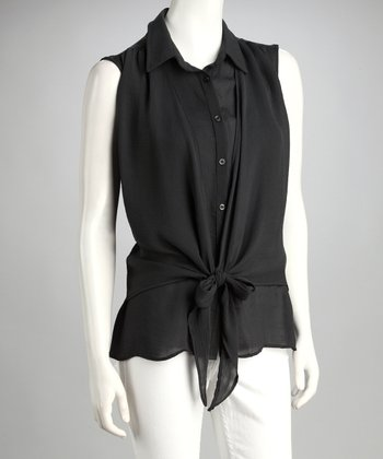 Charcoal Sheer Tie-Front Sleeveless Top