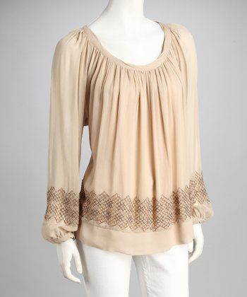 Blush Embroidered Peasant Top