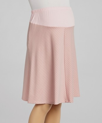 QT Pink Stripe Over-Belly Maternity Skirt