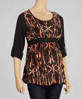 Orange & Black Geometric Maternity Top - Women