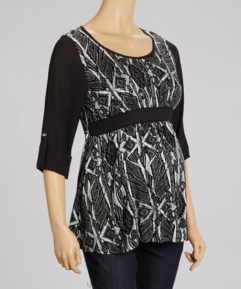 Black & Gray Geometric Maternity Top - Women