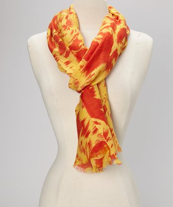 Golden Rod & Flamingo Swirl Cashmere Scarf