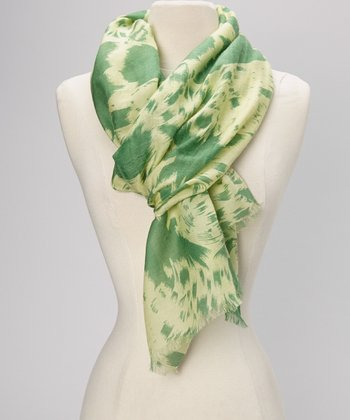 Shadow Lime & Cream Swirl Cashmere Scarf