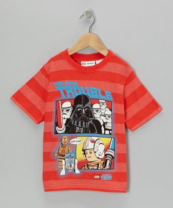 Orange & Blue LEGO Darth Vader 'Trouble' Tee - Kids