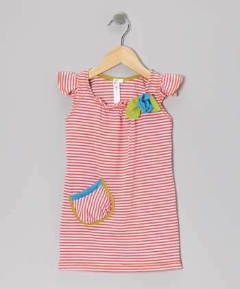 Coral Stripe Angel-Sleeve Dress - Toddler & Girls