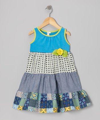 Blue Patchwork Tiered Dress - Toddler & Girls