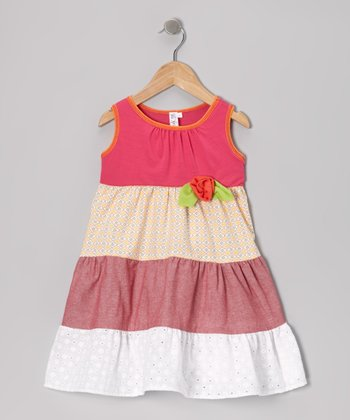 Crimson Eyelet Tiered Dress - Toddler & Girls