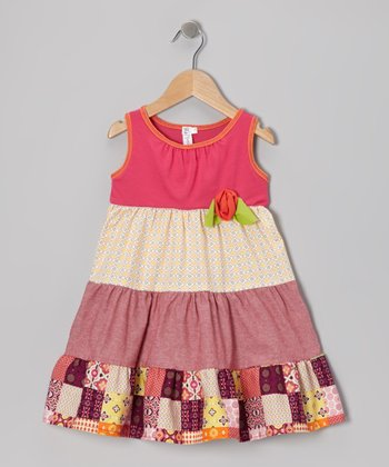 Red Patchwork Tiered Dress - Toddler & Girls