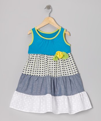 Turquoise Eyelet Tiered Dress - Toddler & Girls