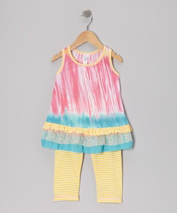 Pink Ruffle Tunic & Yellow Stripe Leggings - Toddler & Girls