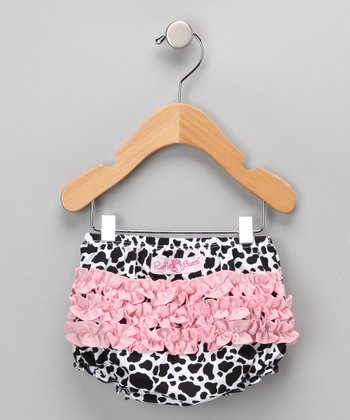 Pink Cow Ruffle Diaper Cover - Infant