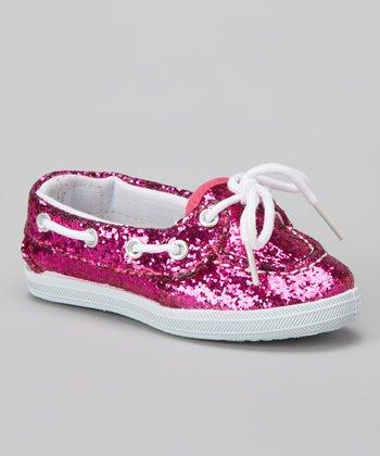 Fuchsia Glitter Boaty Boat Shoe