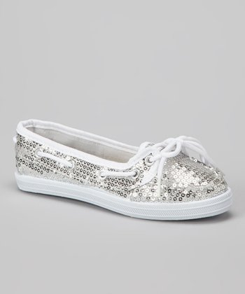 Silver Sequin Boaty Boat Shoe