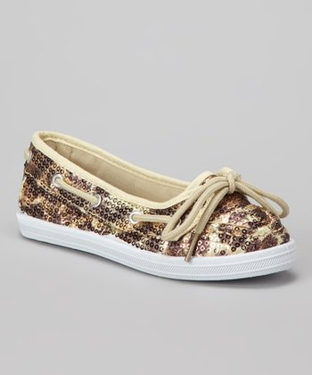 Brown & Tan Leopard Sequin Boaty Boat Shoe