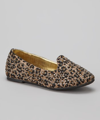Brown & Black Leopard Suede Heff Shoe