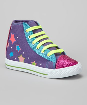 Purple & Pink Glitz Hi-Top Sneaker