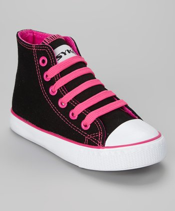 Black & Fuchsia Hi-Top Sneaker