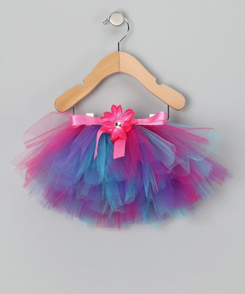 Hot Pink & Teal Tutu & Daisy Clip - Infant, Toddler & Girls