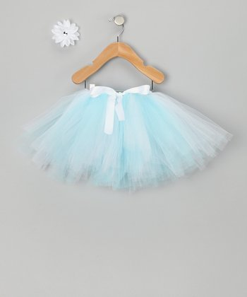 Light Blue & White Tutu & Daisy Clip - Infant, Toddler & Girls