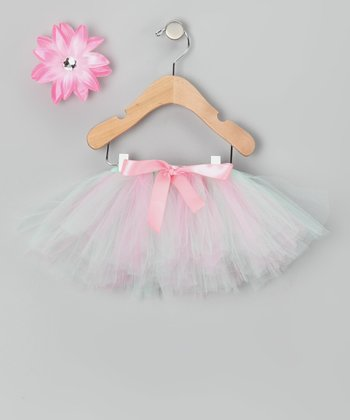 Pink & Mint Tutu & Clip - Infant, Toddler & Girls