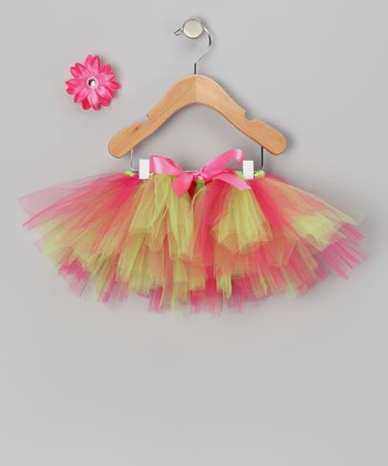 Lime & Watermelon Tutu & Daisy Clip - Infant, Toddler & Girls