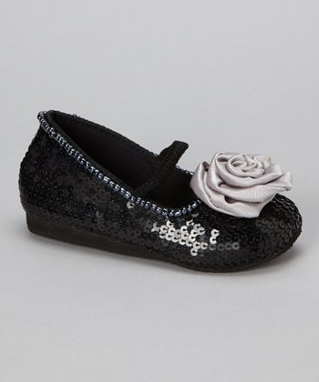 Black & Silver Sequin Flower Flat