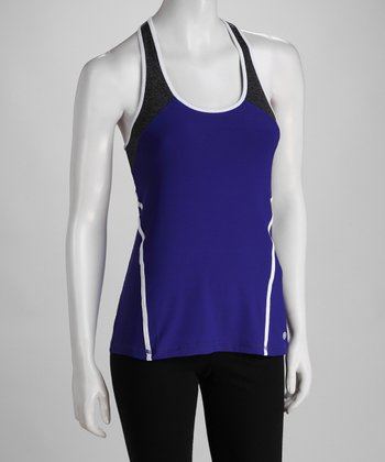 Purple & White Color Block Tank