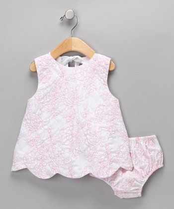 Pink Rose Scalloped Dress & Diaper Cover - Infant