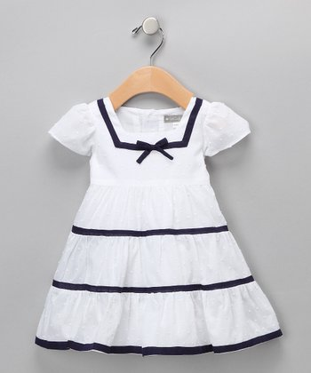 White & Navy Nautical Dress - Infant