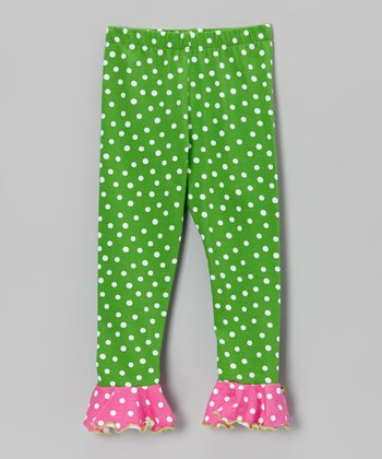 Green & Pink Polka Dot Ruffle Leggings - Infant, Toddler & Girls