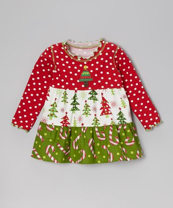 Red & White Candy Cane Swing Top - Toddler & Girls