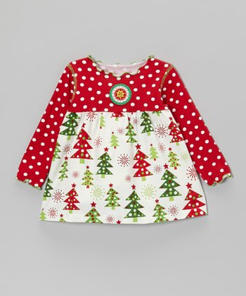 Red & White Christmas Tree Swing Top - Infant & Toddler