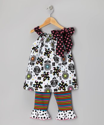 Black & White Floral Swing Tunic & Capri Pants - Toddler & Girls