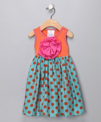 Orange Polka Dot Peony Dress - Infant, Toddler & Girls