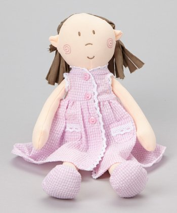 Pink Seersucker Stripe 13'' Mattie Doll