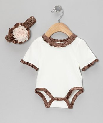 Brown English Rose Ruffle Bodysuit & Headband