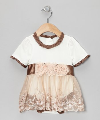 Brown & Pink English Rose Ruffle Skirted Bodysuit