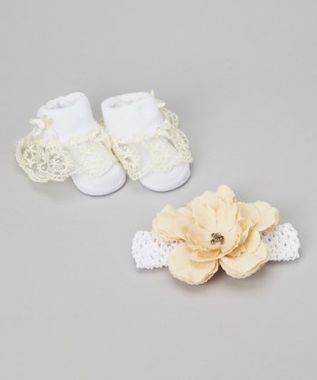 White & Cream Flower Headband & Ruffle Socks