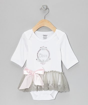 White 'Angels' Skirted Bodysuit