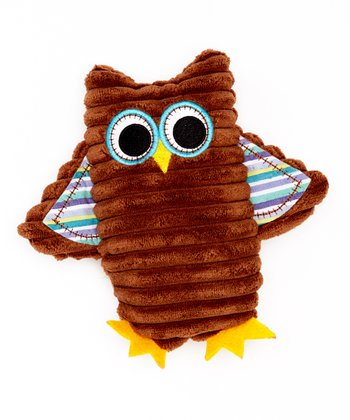 Brown & Blue Corduroy Owl Rattle Plush Toy