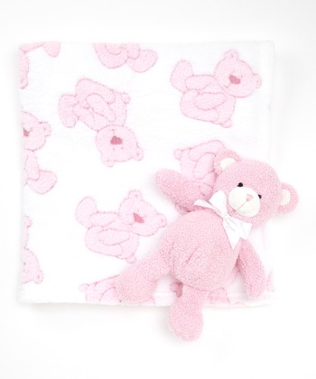Pink Bear Stroller Blanket & Plush Toy