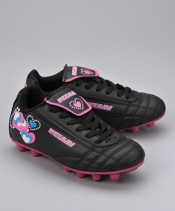 Black & Pink Retro Hearts Cleat - Girls