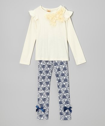 Crème Rosette Top & Blue Rose Leggings - Toddler & Girls